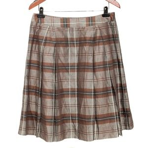 Banana Republic Plaid Linen Pleated A-Line Skirt